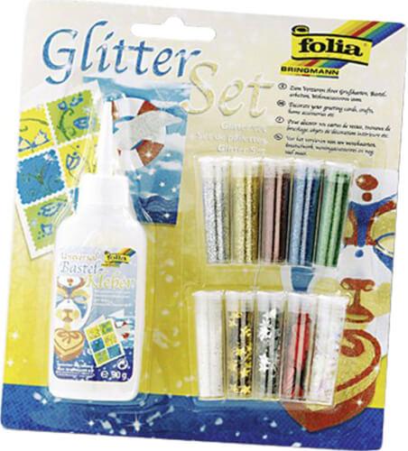 Folia - Glitterset 10 Dosen Dekomaterial, 1x Kleber