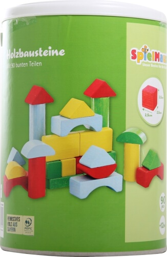 SpielMaus Holz Bausteine in Trommel, 90 Stück, bunt