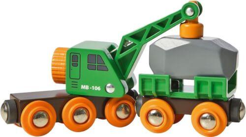 BRIO 63369800 Grüner Kranwagen+Anhänger+Fracht