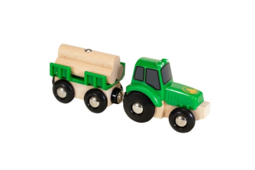 BRIO 63379900 Traktor mit Holz-Anhänger