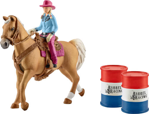 Schleich Farm World Western/ Rodeo - 41417 Barrel Racing mit Cowgirl, ab 3 Jahre