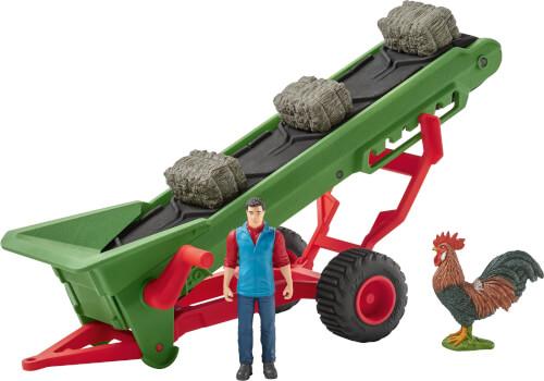 Schleich Farm World Fahrzeuge - 42377 Heuförderband mit Bauer, ab 3 Jahre