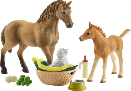 Schleich Horse Club - 42432 Sarahs Tierbaby-Pflege mit Quarter Horse Stute, ab 3 Jahre