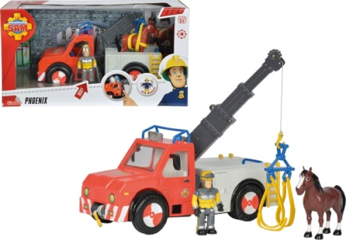 Simba Feuerwehrmann Sam - Rettungsfahrzeug Phoenix inkl. Licht und Zubehör, Kunststoff, ca. 15x18x34 cm, ab 3 Jahre