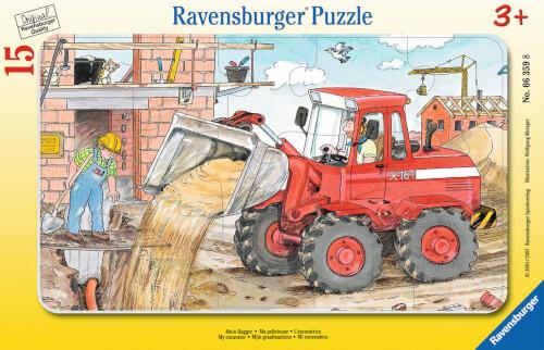 Ravensburger 06359 Rahmenpuzzle Mein Bagger 15 Teile