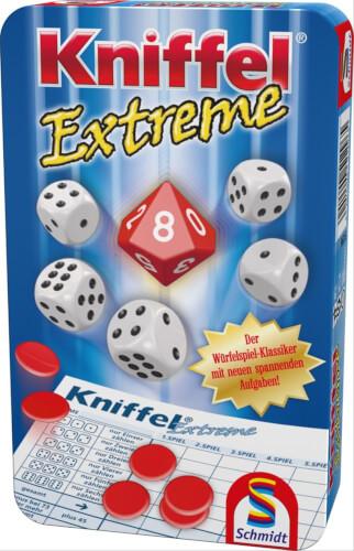 Schmidt Spiele 51296 Kniffel Extreme, Mitbringspiel in der Metalldose, 2 bis 4 Spieler, ab 8 Jahre