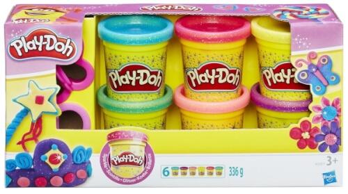 Hasbro A5417EU6 Play-Doh Glitzerknete, 6-teilig, ab 2 Jahren