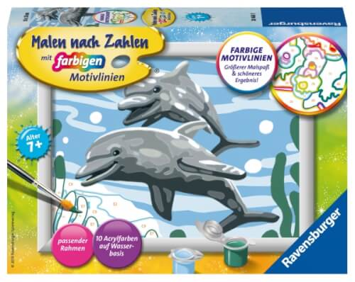 Ravensburger 284689 Malen Nach Zahlen Freundliche Delfine Serie E