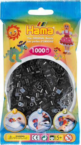 HAMA 207-18 Bügelperlen Midi, schwarz, 1.000 Stück, ab 5 Jahren