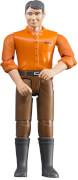 Bruder 60007 Mann mit hellem Hauttyp / brauner Hose, Maße: 10,7 x 3,8 x 1,3 cm, Plastik & Kunststoff, ab 3 Jahre