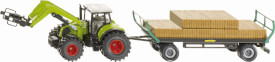 SIKU 1946 Traktor mit Quaderballengreifer und Anhänger 1:50