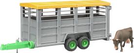 Bruder 02227 Viehtransportanhänger inklusive 1 Kuh