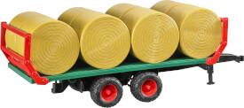 Bruder 02220 Ballentransportanhänger mit 8 Rundballen, ab 3 Jahren, Maße: 43,9 x 15,5 x 15,5 cm, Kunststoff