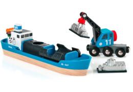 BRIO 63353400 Containerschiff mit Kranwagen