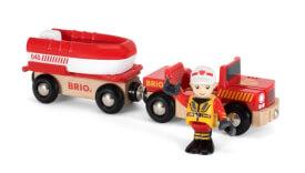 BRIO 33859000 Feuerwehr-Boot mit Transporter
