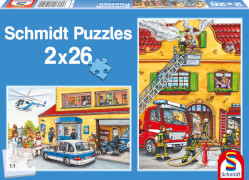 Schmidt Spiele Puzzle Feuerwehr und Polizei 2 x 26 Teile