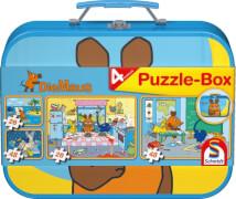 Schmidt Puzzle 55597 Die Maus im Metallkoffer 2 x 26 Teile, 2 x 48 Teile, ab 5 Jahre