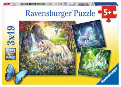 Ravensburger 09291 Puzzle Schöne Einhörner 3 x 49 Teile