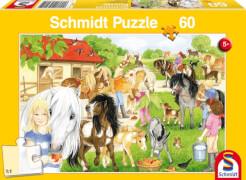 Schmidt Puzzle 56205 Spaß auf dem Ponyhof, 60 Teile, ab 5 Jahre
