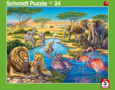2er Set Rahmenpuzzles Tiere in Afrika 24 Teile/Tiere am Nordpol 40 Teile