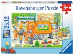 Ravensburger 07617 Puzzle: Unterwegs mit Müllabfuhr und Kehrmaschine 2x12 Teile