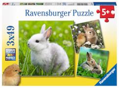 Ravensburger 08041 Puzzle: Niedliche Häschen 3x49 Teile