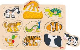GoKi Steckpuzzle mit Hintergrund Was gehört zu wem