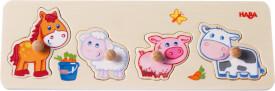 HABA - Greifpuzzle Bauernhof-Tierkinder, 4-teilig, ab 12 Monaten