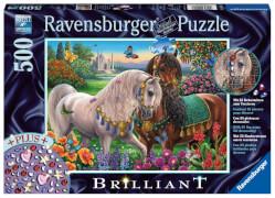 Ravensburger 149117 Puzzle Glitzerndes Pferdepaar 500 Teile