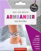 Armbänder z. Besticken: Glitzer-Optik silber 100%