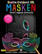 Kreative Kratzkunst XXL: Masken: Set mit 10 Kratz-Masken, Anleitungsbuch und Holzstift: 10 Kinder-Masken ideal für Fasching, Kar
