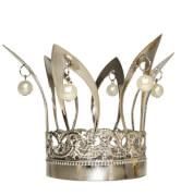 Krone mit Perlen silber