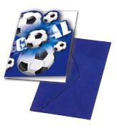 Fußball blau Einladungskarten und Umschläge, 6 Stück