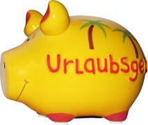 Sparschwein ''Urlaubsgeld'' - Kleinschwein von KCG - Höhe ca. 9 cm